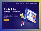 Constructor Of Web Pages And Websites. People In The Flat 3d Isometric Style Collect A Site From Blo poster