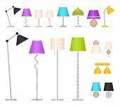 Lamp Set. Vector. Table, Floor, Wall And Work Lamps In Flat Design. Collection Lighting Elements Iso poster