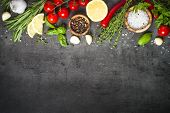 Selection Of Spices Herbs And Vegetables. Ingredients For Cooking. Food Background On Black Slate Ta poster