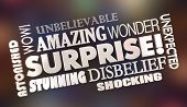 Surprise Shock Surprising News Word Collage 3d Illustration poster