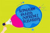 Text Sign Showing Reputation Quality Experience Reliability. Conceptual Photo Customer Satisfaction  poster