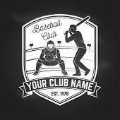 Baseball Or Softball Club Badge On The Chalkboard. Vector Illustration. Concept For Shirt Or Logo, P poster