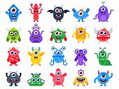 Cartoon Monster. Cute Happy Monsters, Halloween Mascots And Funny Mutant Toys. Scary Creatures Vecto poster