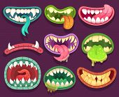 Monsters Mouths. Halloween Scary Monster Teeth And Tongue In Mouth. Funny Jaws And Crazy Maws Of Biz poster