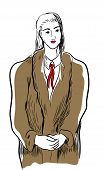 Woman Wearing Fur Coat.  Illustration Of Standing Woman Wearing Fur Coat. poster
