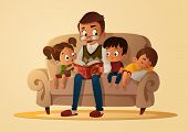 Grandfather Sitting With Grandchildren On A Cozy Sofa With The Book, Reading And Telling Book Fairy  poster