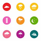 Meteorological Conditions Icons Set. Flat Set Of 9 Meteorological Conditions Vector Icons For Web Is poster