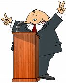 image of politician  - This illustration depicts a politician speaking at a podium - JPG