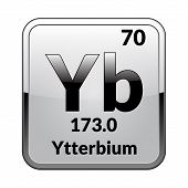 Ytterbium Symbol.chemical Element Of The Periodic Table On A Glossy White Background In A Silver Fra poster