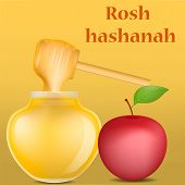 Rosh Hashanah Religion Concept Background. Realistic Illustration Of Rosh Hashanah Religion Vector C poster