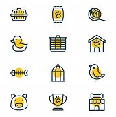Vector Illustration Of 12 Pet Icons Line Style. Editable Set Of Clew, Kibble, Duck And Other Icon El poster
