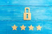 Wooden Padlocks And Four Stars. Security, Security Of Users And Business. Internet Security, Antivir poster