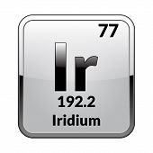 Iridium Symbol.chemical Element Of The Periodic Table On A Glossy White Background In A Silver Frame poster