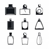 Fragrance Bottles Aroma Flavor Perfume Icons Set. Simple Illustration Of 9 Fragrance Bottles Aroma F poster