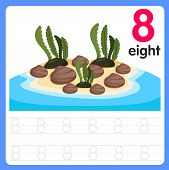 Illustration For Education Worksheet Writing Practice Number Eight poster