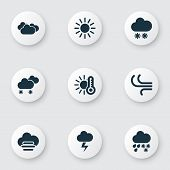 Climate Icons Set With Hail, Sunny, Temperature And Other Synoptic Elements. Isolated Vector Illustr poster