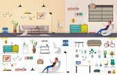 Living Room And Office Interior. Modern Apartment, Scandinavian Or Loft Design. Cartoon Vector Illus poster