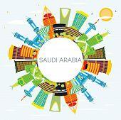 Saudi Arabia Skyline with Color Landmarks, Blue Sky and Copy Space. Mecca, Riyadh. Business Travel a poster