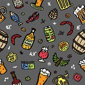 Craft Beer Hand Drawn Elements Pattern. Outline Black Icons Of Craft Beer Things. Craft Beer Info Gr poster