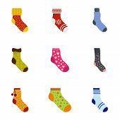Sock Icons Set. Cartoon Set Of 9 Sock Icons For Web Isolated On White Background poster