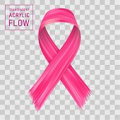 Pink Ribbon Flow, Breast Cancer Awareness Symbol. Brushstroke On Transparent Background.. Ribbon Iso poster