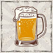 Beer Mug Vintage Vector Colored Banner With Grunge Textures And Scratches poster