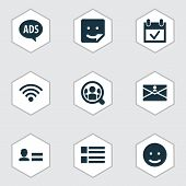 Social Icons Set With Wi-fi, People, Advert And Other Wireless Connection Elements. Isolated Vector  poster
