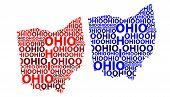 Sketch Ohio (united States Of America) Letter Text Map, Ohio Map - In The Shape Of The Continent, Ma poster