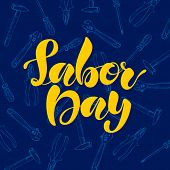 Labor Day Lettering On Dark Blue Background With Textures And Instruments, Such As A Hammer, A Screw poster