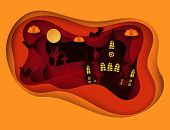 Paper Art Halloween Night Background With Haunted House, Flying Bat, Cemetery With Graves And Dead T poster