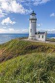 North Head Lighthouse On A Hill. The Vista At North Head Lighthouse In Ilwaco, Washington. poster