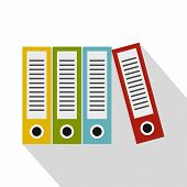 Red, Green, Blue And Yellow Office Folders Icon. Flat Illustration Of Office Folders Icon For Web Is poster