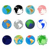 Earth Planet Vector Global World Universe And Worldwide Universal Globe Illustration Worldly Set Of  poster