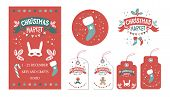 Christmas Set With Tags, Stickers, Label, Poster. Christmas Market Emblem, Sign. Festive Decor, Garl poster
