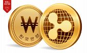 Ripple. Won. 3d Isometric Physical Coins. Digital Currency. Korea Won Coin. Cryptocurrency. Golden C poster