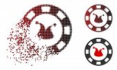 Joker Casino Chip Icon In Dispersed, Dotted Halftone And Undamaged Solid Versions. Fragments Are Org poster