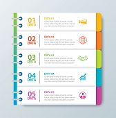 Infographics Tab In Horizontal Paper Index With 5 Data Template. Vector Illustration Abstract Notebo poster