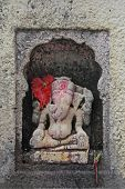 picture of lord krishna  - Elephant Headed Indian Lord Ganesha at Shri Koteshwar Temple Situated between Village Limb and Gove in Middle of River Krishna Satara Maharashtra India - JPG