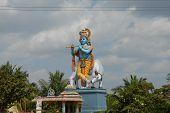foto of lord krishna  - this statue of lord krishna is situated on the way from bangalore to mysore in karnataka india - JPG