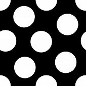 image of dot pattern  - A seamless pattern of large white polka dots on a black background - JPG