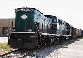 stock photo of railcar  - Diesel railroad Locomotive engine on a side track - JPG