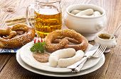 bavarian meal with white sausage