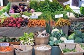 stock photo of farmers market vegetables  - Green market place with lot of vegetables - JPG