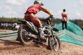 SEMIGORJE, RUSSIA - JULY 22: Unidentified rider at Grand Prix of Russia of FIM Motocross World Champ