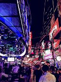 image of brothel  - Vector illustration of a street at night in Bangkok  - JPG