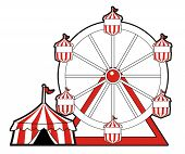 picture of circus tent  - Red colored circus tent with ferris wheel - JPG