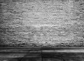 image of abandoned house  - old grunge interior with brick wall - JPG