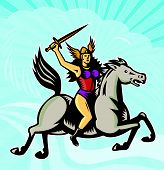 pic of valkyrie  - Illustration of valkyrie of Norse mythology female rider warriors riding horse with spear done in retro style - JPG