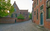 Street through the ancient village of Leuven at dawn