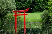 Torii - ceremonial gates, mounted in front of the joss-house, or shrines, Japanese Shinto religion